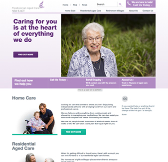 Presbyterian Aged Care - web design by Hopping Mad Designs