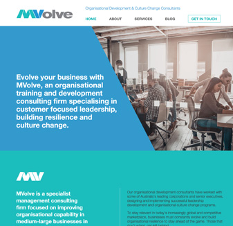 Mvolve - web design by hopping mad designs
