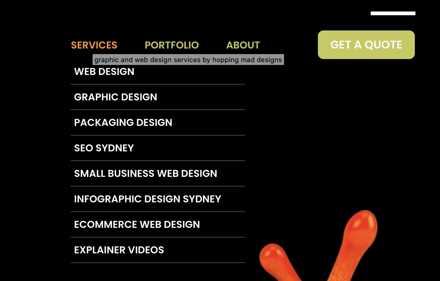 pop up boxes for navigation example - hopping mad designs